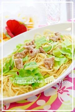 ◆ 春キャベツと豚肉のパスタ ◆ ペペロンチーノ