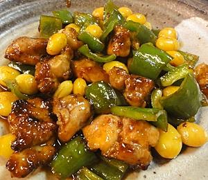 鶏肉銀杏のピリ辛炒め