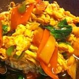 豚こまと野菜の卵炒め