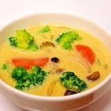 カレー風味♪ 野菜ときのこの豆乳スープ
