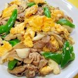 舞茸と豚肉万願寺唐辛子の卵炒め