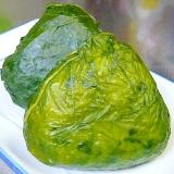 葉っぱでクルリン♪高菜のおにぎり(●^o^●)