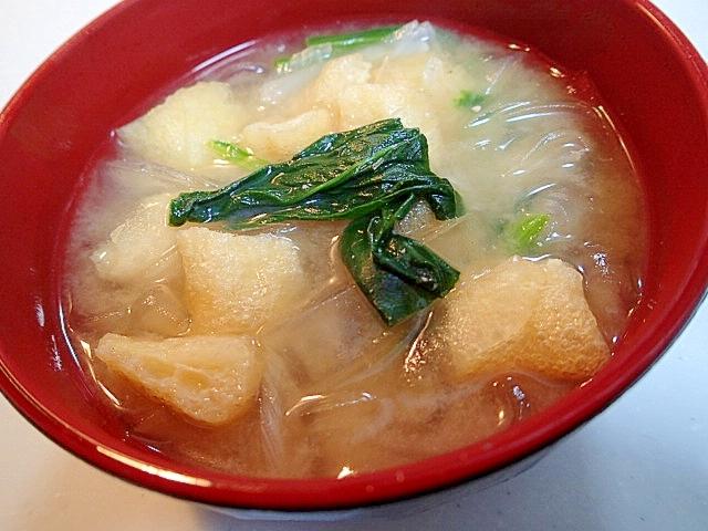 椎茸だしで ❤くずきり入り具たくさん味噌汁❤