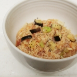 野菜ジュースで 鶏ひき肉とナスの雑炊
