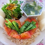 トマトとかぶの葉のペペロン炒め(ワンプレート)