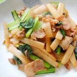 ウドと豚肉、小松菜の和風炒め