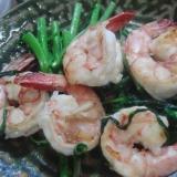 海老と空芯菜の炒めもの