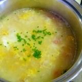 冷しゃぶスープをアレンジ!カニカマたまご雑炊