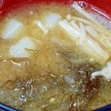 朝の食物繊維♪ 「もずくと長芋の味噌汁」