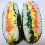 おにぎらず♪ 3色きれい❤鮭&卵&ほうれん草