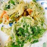 空芯菜と玉ねぎとにんじんのかき揚げ
