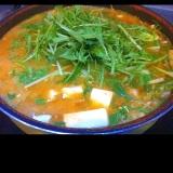 キムチと水菜の雑炊