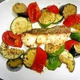 夏野菜とタラのガーリックオイル焼き バジル風味