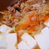 和風スープで 豚肉のキムチ鍋