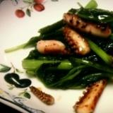 イカと空芯菜の醤油炒め