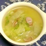 ソーセージとセロリと白菜のスープ