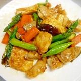 豆腐&アスパラ&鶏肉&人参のオイスターソース炒め