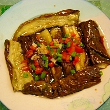 蒸し茄子のサラダ