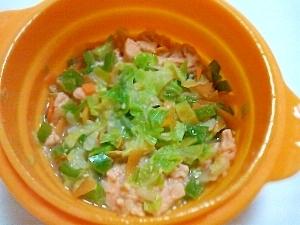 離乳食完了期にスチーマーで。鮭のちゃんちゃん焼き。