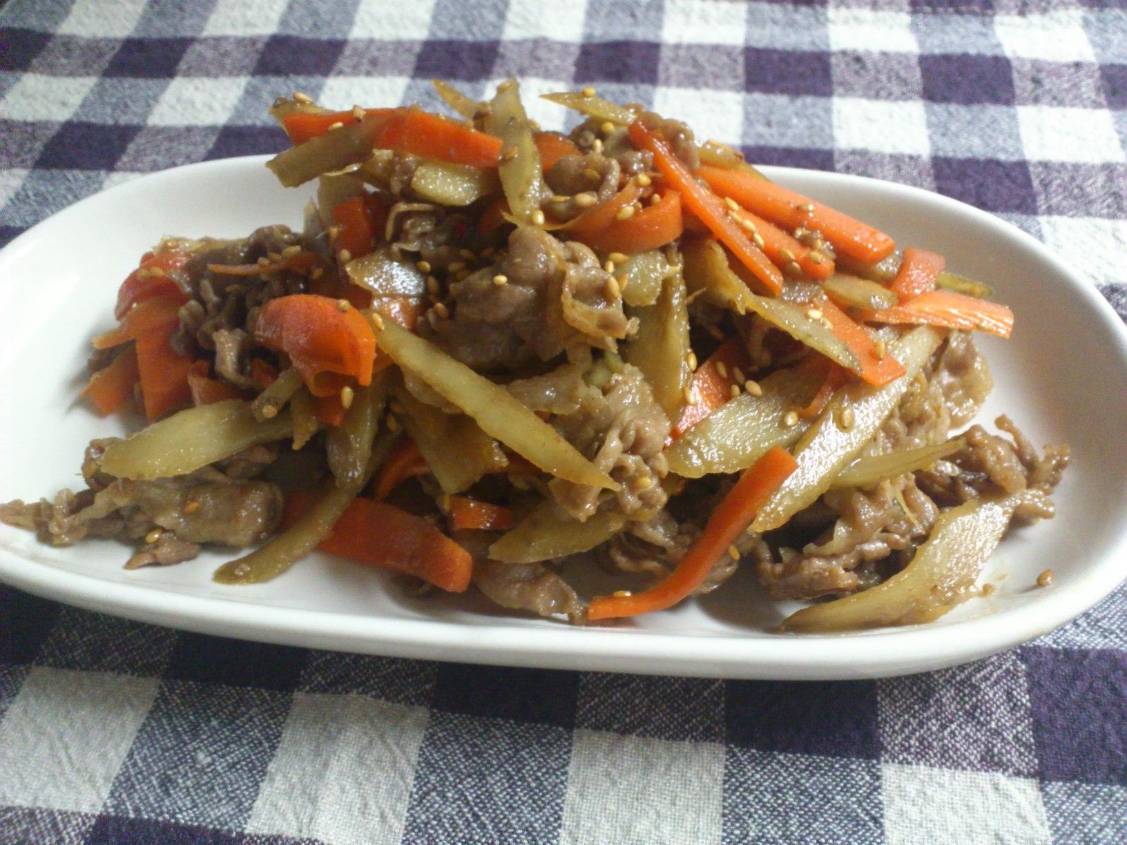 豚肉とごぼうの炒め煮