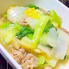 白菜とちんげん菜の塩あん炒め