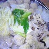 鶏団子で美味しい♪水炊き。