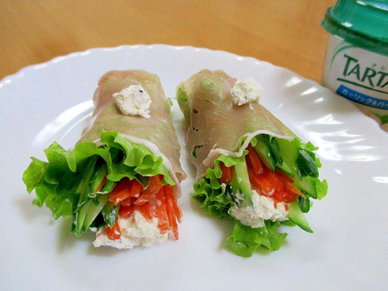 クリームチーズと野菜の生ハム巻き