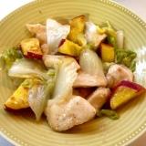 鶏むね肉とサツマイモ、白菜の甘酢炒め