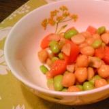 ひよこ豆・枝豆のアンチョビ・にんにく炒め