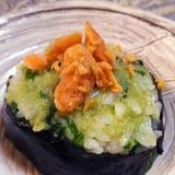 大人のおにぎり、野沢菜わさびおにぎり鮭のせ