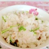 水菜と梅干しの混ぜご飯♡