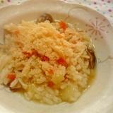 コンソメ風味~2種のきのこ雑炊