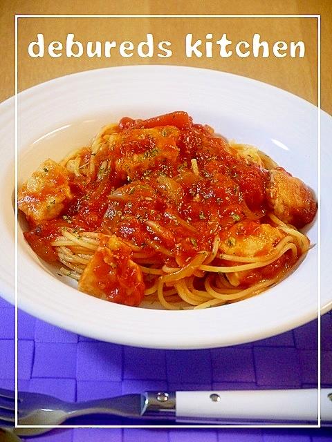 かじきまぐろのトマトソースパスタ