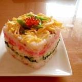 ひな祭りに!菱餅風ちらし寿司