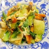 チンゲン菜と人参、きくらげ、卵の炒め中華味