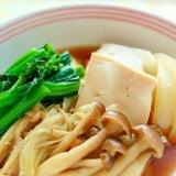 菜食メニュー♪菜の花入り、豆腐とキノコのすき焼き煮