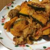 簡単美味しい!かぼちゃと豚肉のキムチ炒め