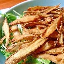 片栗粉で 揚げごぼうと水菜のサラダ