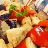 マッシュルーム、パプリカ、茄子のニンニク炒め