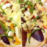 フラワートルティーヤで簡単シーフードpizza