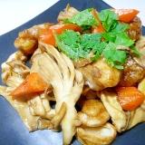 鶏肉とマイタケの甘辛炒め