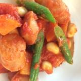 栄養満点!根菜とお豆のトマト煮込み