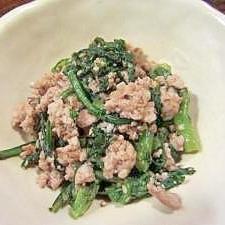ひき肉みたいな豆腐のそぼろで春菊あえ