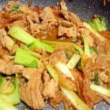 青梗菜と豚肉のキムチ炒め