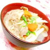 ❤ブナシメジと水菜のバター豚汁❤