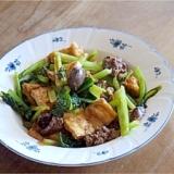 鶏肝と油揚げと小松菜の炒め物