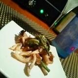 旬采、炙りこごみと舞茸の胡桃味噌和え