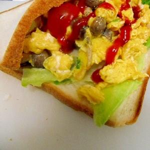 しめじと卵のサンドイッチ