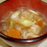 寒い日に熱々☆ネギ入り肉団子の餡かけ汁♪