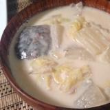 サバ缶の豆乳スープ